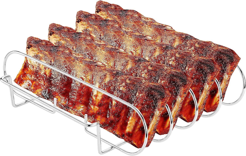 Large Rib Rack for Smoking & Grilling - BBQ Rib Rack Stainless Steel - Holds 4 Full Racks of Ribs - Easy to Use and Clean Rib Racks for Smoking Big Green Egg and Masterbuilt Smoker