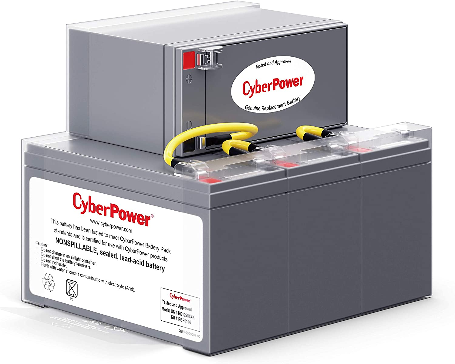 CyberPower RB1290X4K UPS Replacement Battery Cartridge, 12V/9Ah