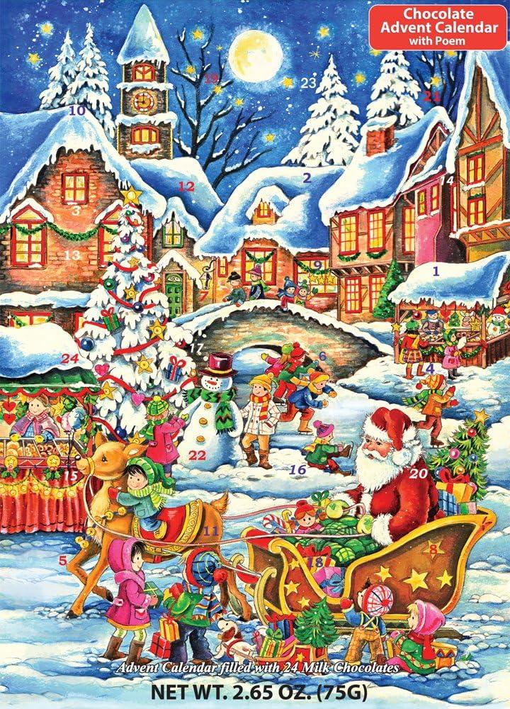 2021 Christmas Candy Countdown Calendar Amazon Com Santa S Here Chocolate Advent Calendar 2 65 Oz 75 G Home Kitchen