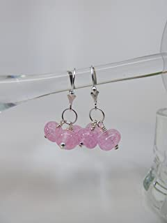 Pale Pink Dichroic Artisan Lampwork Bead Triple Drop Beads with Sterling Silver Findings and Leverback Ear Wires