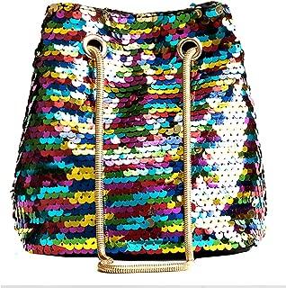 Women Girls Fashion Sequins Crossbody Shoulder Bag Charming Drawstring Bucket Bags Tote Handbag