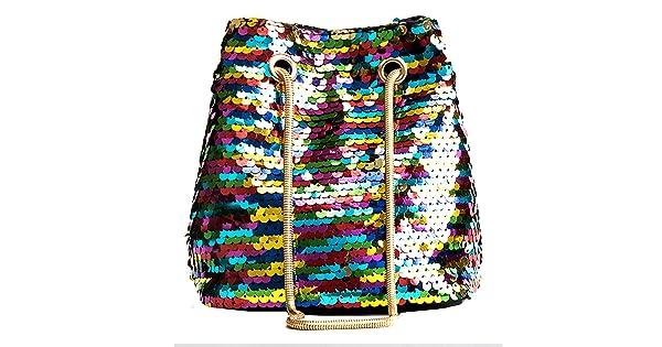 Heidi Women Girls Fashion Sequins Crossbody Shoulder Bag Charming Drawstring Bucket Bags Tote Handbag