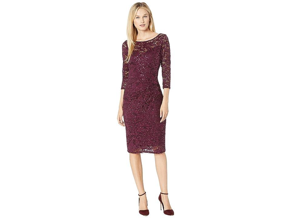 MARINA Short Long Sleeve Side Pleat Dress (Merlot) Women