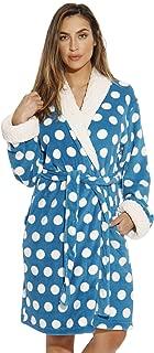 Sherpa Trim Plush Robe for Women - Polka Dot