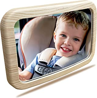 Baby Mirror for Car | Baby Car Mirror | Huge Wide-Angled Without Shaking |TPU Soft Frame | Whitle Oak Printing by Facekyo