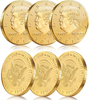 Batterymart 6Pack Donald Trump Gold Coin Token 2018 24kt Gold Plated 45th President of The United States