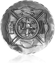 Coaster, Fireman's Crest, Hand-hammered Aluminum, Keeps Tabletops Safe, 4.5 Inch Round Coaster, Handmande in the USA by Wendell August Forge
