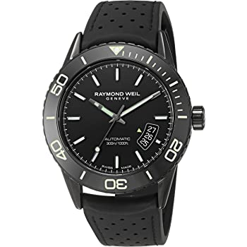 Raymond Weil Men's Freelancer Stainless Steel Swiss-Automatic Watch with Rubber Strap, Black (Model: 2760-SB1-20001)
