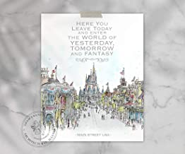 Main Street USA, Disney World Quote Art | Quality Prints taken from my Original Detailed Illustration & Watercolor.