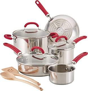 Rachael Ray 70413 Create Delicious Cookware Pots and Pans Set, 10 Piece, Stainless Steel with Red Handles