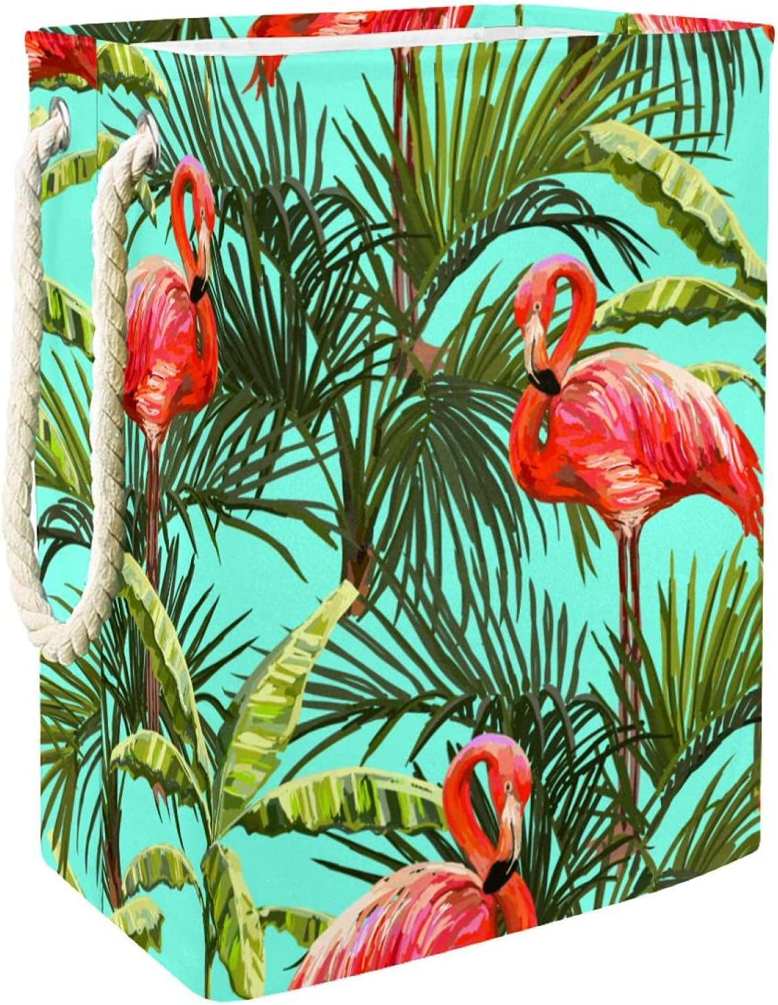 Tropical Flamingo Jungle Leaf Laundry Large specialty National uniform free shipping shop With Handles Hamper