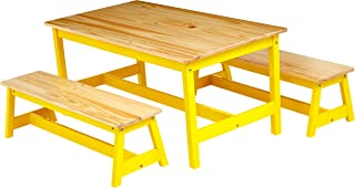 AmazonBasics Indoor Kids Table and Bench Set, Natural
