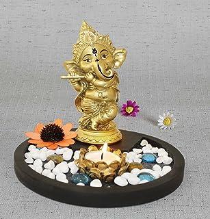TIED RIBBONS Golden Ganesha Playing Bansuri Ganesh Idol for Gift   Diwali Gift Set   Home Decor Murti