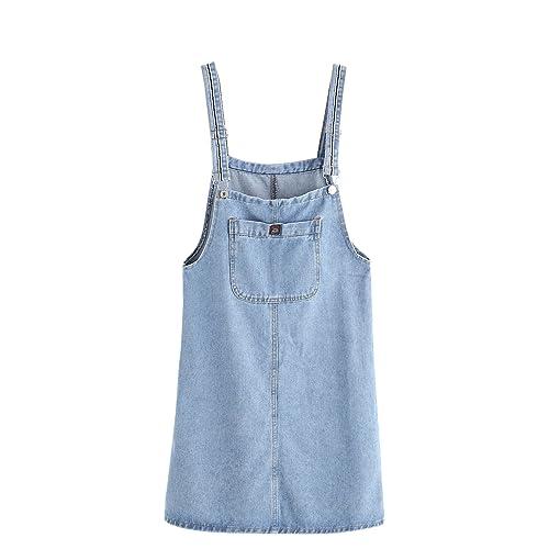 160bedf296 Verdusa Women s Classic Straps Denim Bib Sleeveless Ripped Pocket Dress