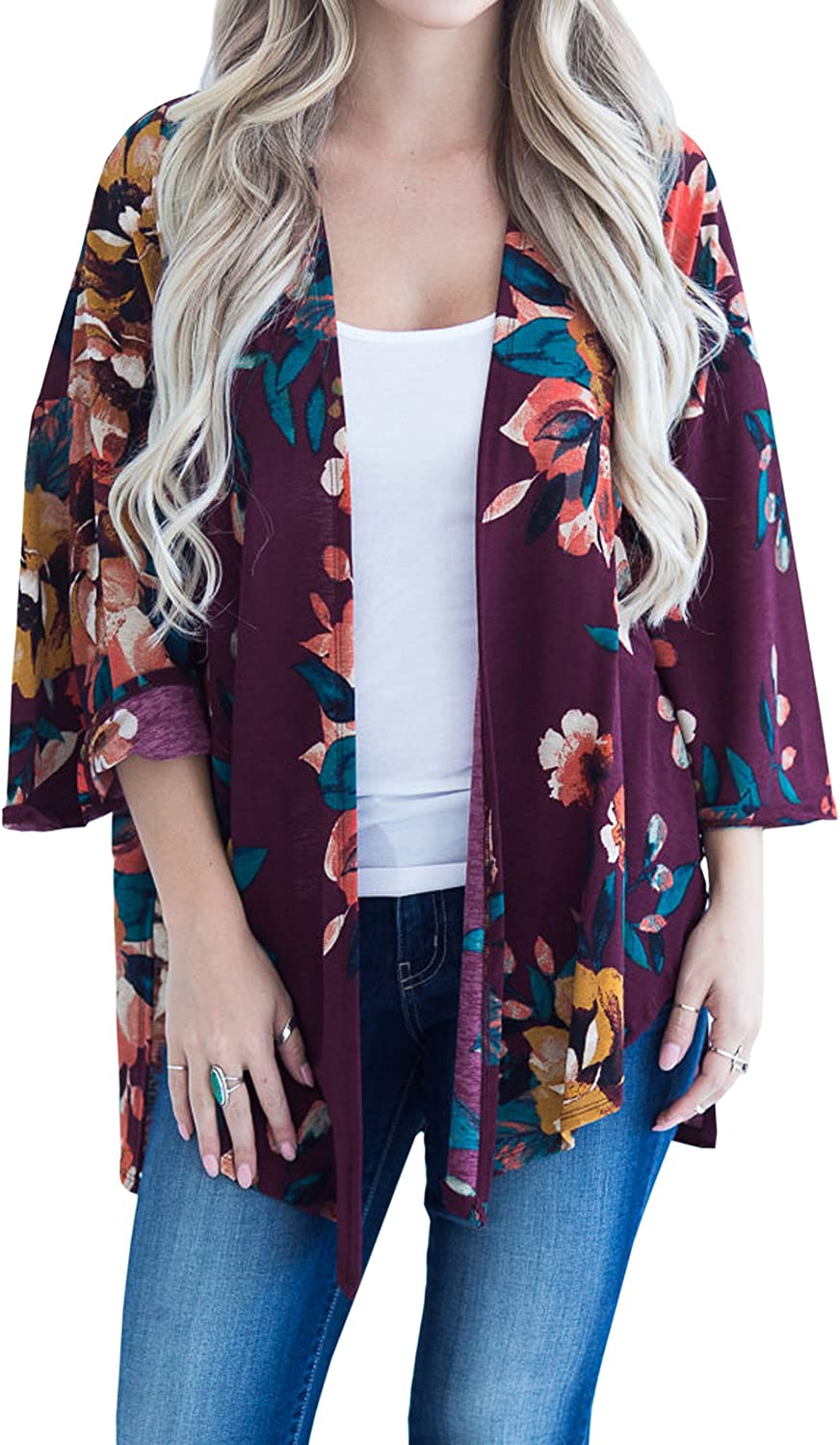Hiblueco Women's Fashion Long Sleeve Floral Printed Open Cardigan Jacket Outwear
