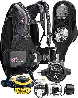 Aqua Lung Travel Scuba Gear Package Zuma BCD i300C Dive Computer Micron Reg Set, Midnight / Pink XXS/XS