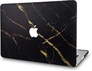 LuvCase Rubberized Plastic Hard Shell Case Cover Compatible Newest MacBook Pro 15 Case Touch Bar A1990/A1707 2019/2018/2017/2016 (Black Gold Marble)