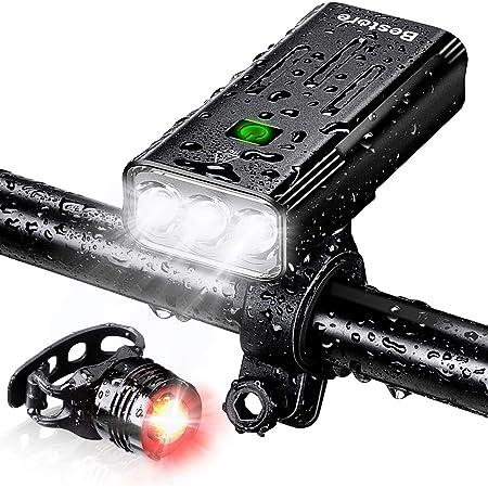 (5200mAh大容量 USB充電式) 自転車 ライト 防水 LED 800ルーメン モバイルバッテリー機能付き テールライト付き 3つ調光モード クロスバイク ロードバイク ライト キャンプ ハイキング サイクリング 懐中電灯 犬散歩 日本語説明書付き (ブラック)