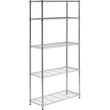 Amazon Com 5 Tier Chrome Heavy Duty Adjustable Shelving Unit With 200 Lb Per Shelf Weight Capacity Home Kitchen