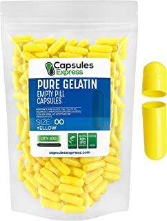 Capsules Express- Size 00 Yellow Empty Gelatin Capsules 100 Count - Kosher and Halal - Pure Gelatin Pill Ca...