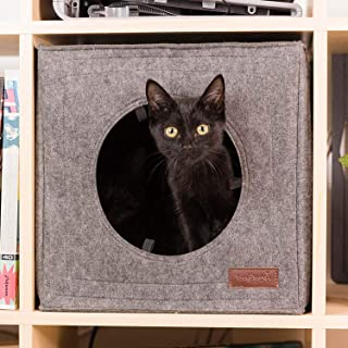 Thick Felt Cat Cave for IKEA Shelf - Cat Bed with Pillow & Reinforced Top - Easy Travel Cat Cube is Machine Washable - Foldable Cat Houses for Indoor Cats (Gray)