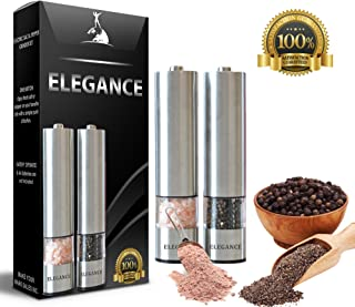 Electric Salt and Pepper Grinder Set   Battery Operated Stainless Steel Mill with Light (Pack of 2 Mills)   Automatic One Handed Operation   Salt And Pepper Grinder   Ceramic Grinders