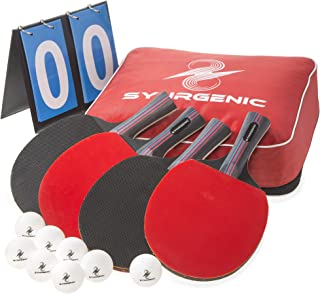 Synrgenic Table Tennis Paddle Set - 4 Professional Ping Pong Rackets, 8 Professional ITTF Game Balls, Foldable Scorecard, and Portable Cover Bag - Ergonomic Wooden Bats for Powerful Speed and Spin