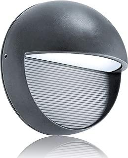 Lightess Outdoor Sconces Waterproof Grey LED Wall Light Bulkhead Lights Fixture Round Shape Aluminum Alloy, 3W Cold White, OLB-O2