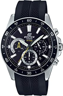 Casio Men's Edifice Stainless Steel Quartz Watch with Resin Strap, Black, 21.6 (Model: EFV-570P-1AVUDF