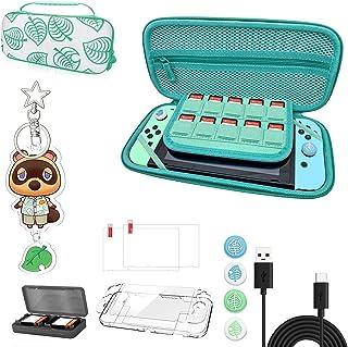 Animal Crossing Case Kit con accesorios, funda de almacenamiento portátil Animal Crossing con asa para Nintendo Switch [13...