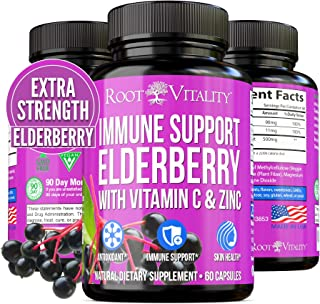 Root Vitality Elderberry Capsule - Immune Support Supplement - with Zinc and Vitamin C - Black Elderberry Pills for Adults...