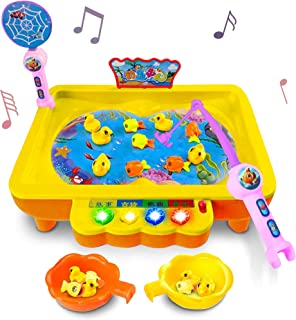 Gamie Electric Fishing Game for Kids - Fun Activity Toy with Music - Includes 10 Fish, Ducks and 2 Catching Rods Idea for Boys, Girls Toddlers - Develops Motor Skills