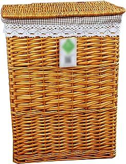 LJJ Herbe et Panier de Rangement avec Couvercle vêtements Saule Grande boîte de Rangement de Jardin (Couleur : Orange)