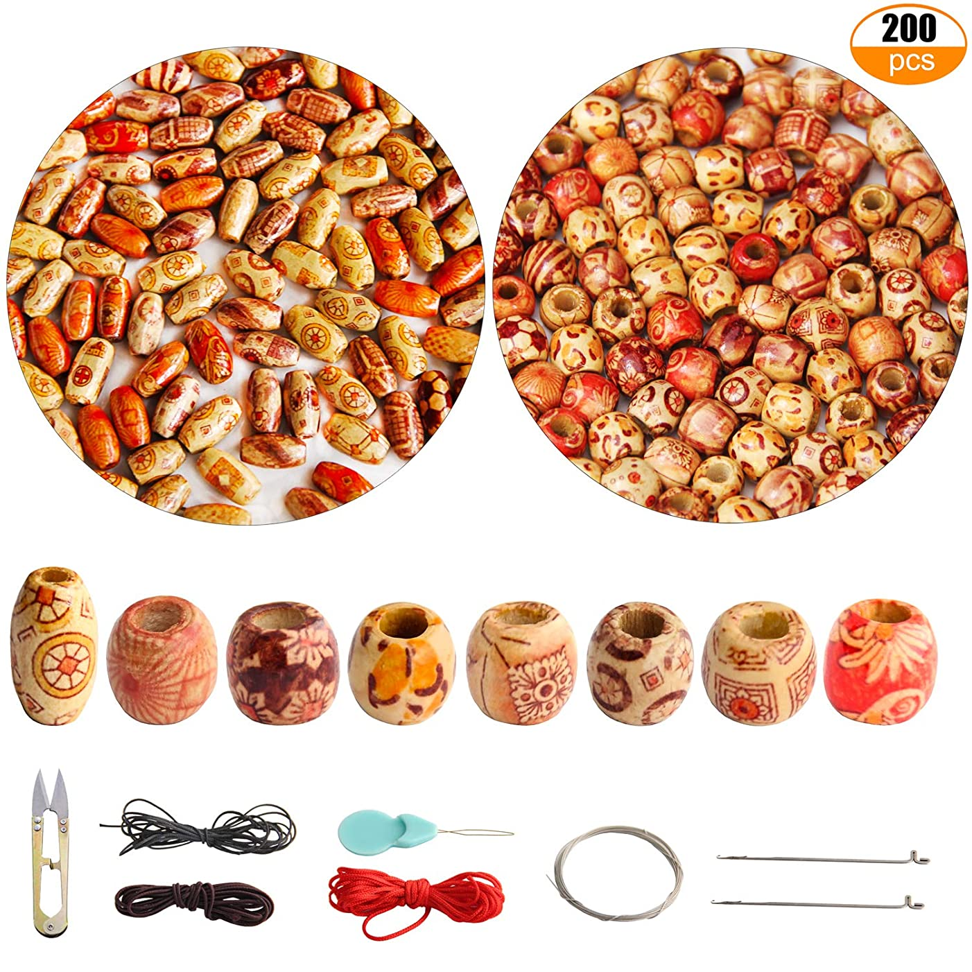 200pcs 12mm Natural Painted Wood Beads Round Loose Wooden Bead Bulk with Scissors Threader Beading Cord for Jewelry Making Craft Hair DIY Macrame Rosary Bracelet Necklace (Ball and Tubular Shape)