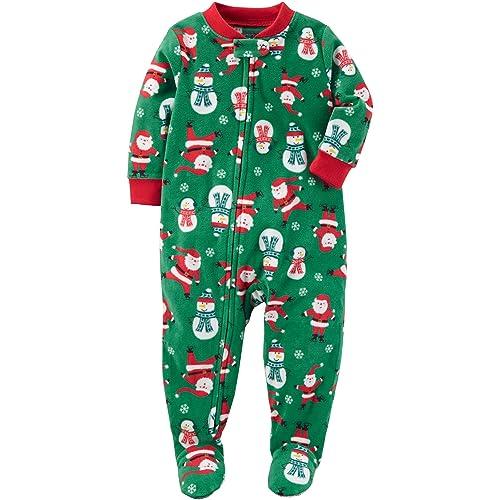 c1af0b10cf Carter s Baby Boys  Santa Print Fleece Zip up Sleep and Play