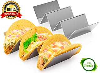 2 Pack Stainless Steel Taco Holder Tray, Taco Truck Stand Holds Up To 3 Tacos Each as Plates, Use as a Shell Baking Rack - Safe for Dishwasher, Oven, and Grill, Holders Size 8
