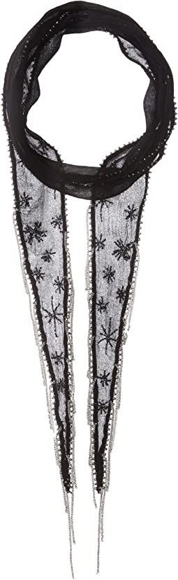 Chan Luu - Embroidered Starburst Long Skinny Scarf