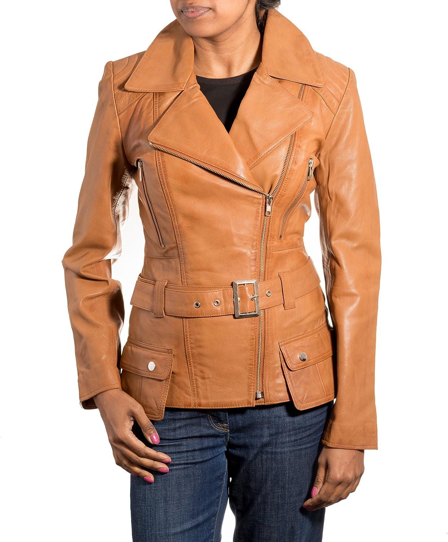 Womens Brown Tan Retro Style Designer Real Lambskin Cross Zip Long Biker Jacket