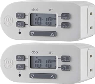myTouchSmart Indoor Digital Plug-in Timer, 2 Pack, 1 Outlet Polarized, 4 Programmable On/Off Buttons, Space Saving Bar Des...