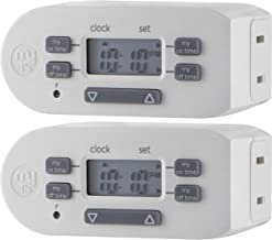 myTouchSmart Indoor Digital Plug-in Timer, 2 Pack, 1 Outlet Polarized, 4 Programmable On/Off Buttons, Space Saving Bar Design, for Lamps, Seasonal Lighting, and Other Small Appliances, 26745, White