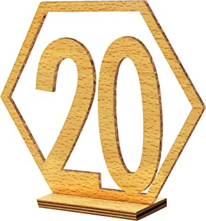 Double Sided Table Numbers 1-20,Wood Banquet Table Numbers with Holder Base for Party Wedding Decor