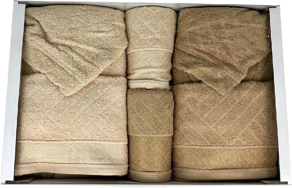 Renato balestra denise, completo bagno  uomo e donna, set asciugamani accappatoi,100% cotone 0703