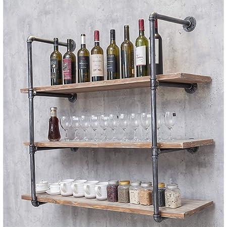 Industrial Wall Mounted Iron Floating Pipe Shelves/Shelving/Racks/Storage/Bookcases/Brackets, DIY Open Bookshelves/Shelving for Kitchen/Office, Retro Black,(4-Tier Shelf Brackets,Not Include Planks)
