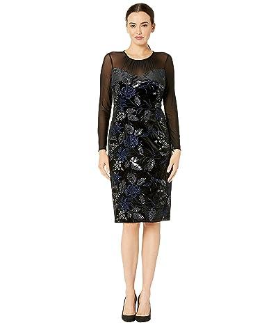 Adrianna Papell Embroidered Sweetheart Neckline Velvet Dress (Black/Navy) Women