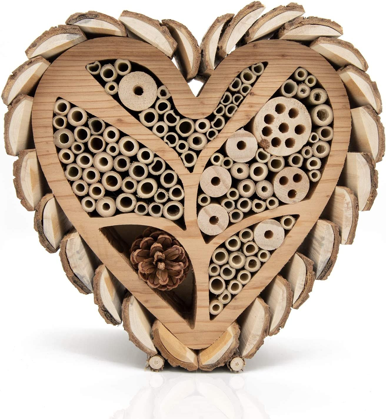Mason Bee House for Outdoors - Large Heart - Shaped Bee and Insect Hotel - Handmade with Natural Bark, Cedar Wood & Bamboo Nesting Tubes - Beautiful Bee Houses for The Garden by Bugtique