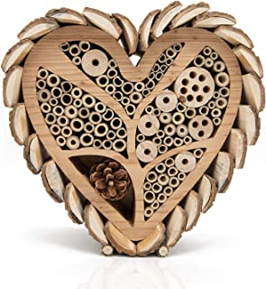 Mason Bee House for Outdoors - Large Heart - Shaped Bee and Insect Hotel - Handmade with Natural Bark, Cedar Wood & Bamboo...
