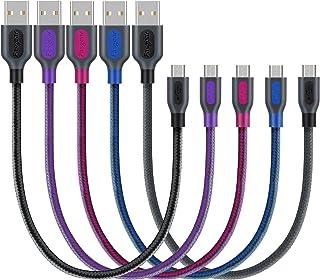 كابل USB صغير مجدول من Fasgear 5 قطع 1ft / 30cm من النايلون مجدول سريع الشحن والمزامنة متوافق مع Samsung وLG وHTC وNokia و...