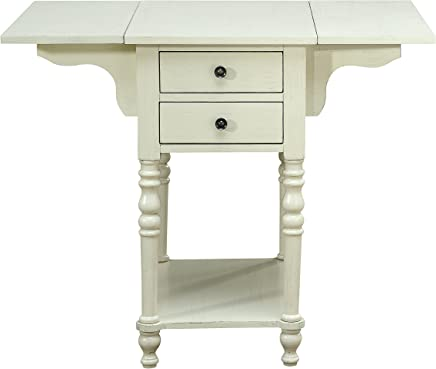 Treasure Trove 17309 Drop Leaf Two Drawer Accent Table,  Cream