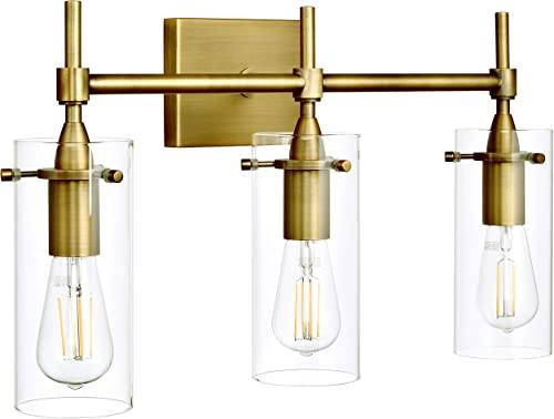 Effimero Gold Bathroom Vanity 3 Light Fixture - Modern Over Mirror Lighting with Clear Glass Shades
