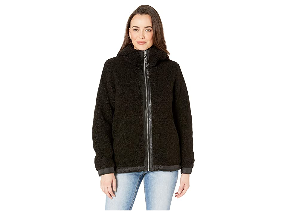 Vince Camuto Hooded Faux Shearling Jacket R8971 (Black) Women